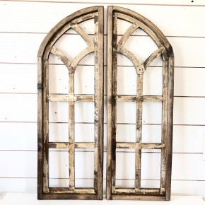 Half Round Church Window - Rustic Brown