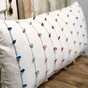 Multi-Color Embroidery Pillow