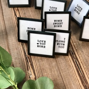Square Metal & Glass Frame & Saying, Set of 3 Frames