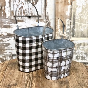 Black & White Plaid Buckets