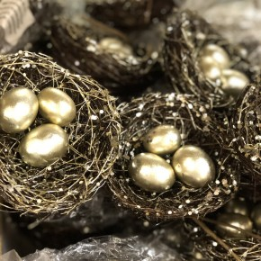 "5"" Birdnest With Gold Eggs SET OF 3 *Final Sale*"