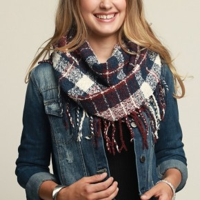 Plaid Fringe Infinity Scarf - new color