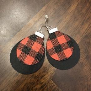 Buffalo plaid leather earrings