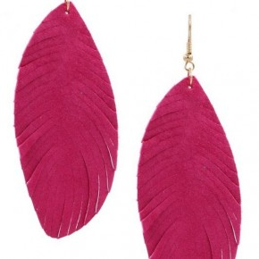 Leather Feather Earrings - pink and turquoise