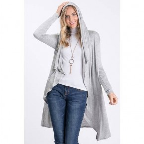 Solid Hoodie open front and long sleeves Cardigan