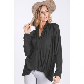 Solid Color Blouse Top with a Draped Wrap Detail Hem