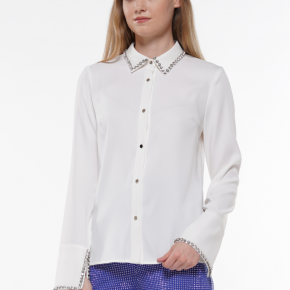 Long Sleeve Rhinestone Trim Button-up Top