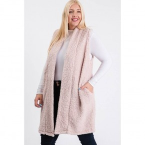 Plus size solid Sherpa Fur Midi