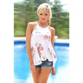 White Flowing Floral Tank