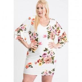 Plus size tiered   V neck bodycon dress