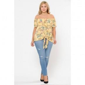 Plus size off shoulder floral top