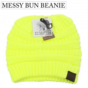 Neon Yellow Messy Bun Beanie