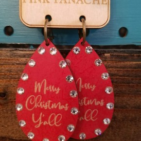 Red Merry Christmas Y'all Earrings