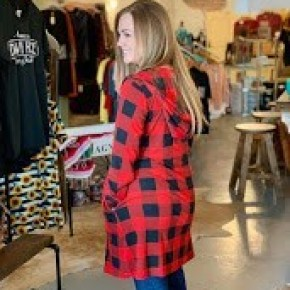Hooded Buffalo Plaid Cardigan with Pockets