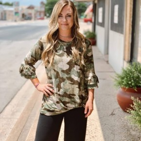 Gorgeous Camo Knotted Top Ruffle sleeve detail