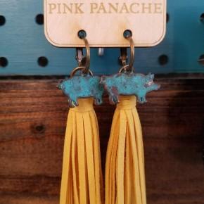Pig Mustard Tassel Earrings