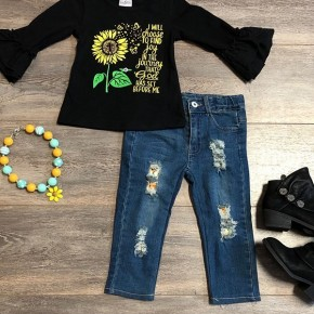 Girls Black Bell Sleeve Top With Distressed Jeans