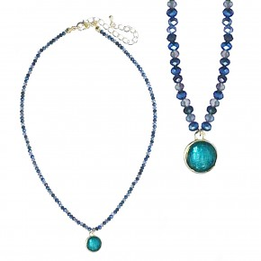 Blue Gold Circle Pendant Necklace