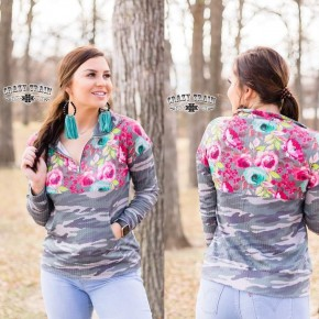 Backwoods Babe Pullover*** Floral/Camo