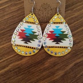 Mustard Aztec Earrings