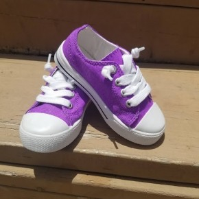 Kids Low Top Purple Sneakers