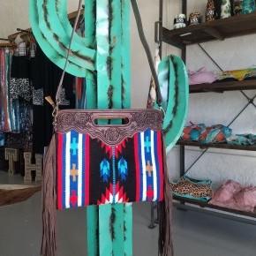 """The Jolene""  Tooled Leather Aztec Purse Tote"