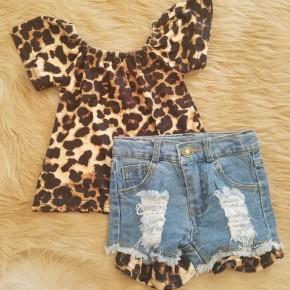 Girls Leopard Tunic short set