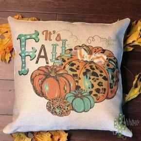 It's Fall Turquoise/Cheetah Pumpkins Pillow Case