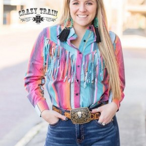 The Rodeo Rig Top** Serape Fringe Button Down