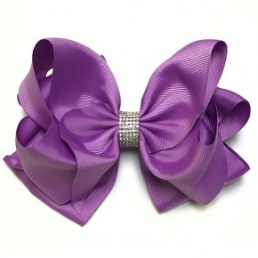 Girls Purple Rhinestone Bow
