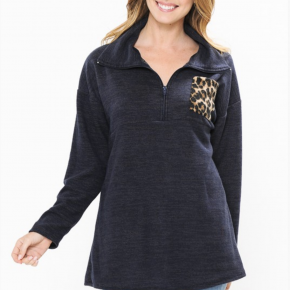 Navy Pullover with Leopard Pocket