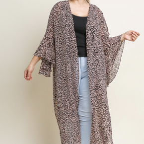 Dusty Rose Animal Print Sheer Cardigan