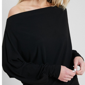 Long Sleeve Off the Shoulder Top - Black