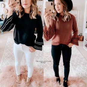 Striped Bell Sleeve Top- 2 COLORS