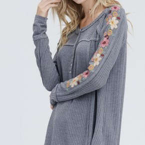 Waffle Knit Embroidery Detail Top- Grey