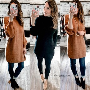 Mock Neck Sweater Dress- 2 COLORS