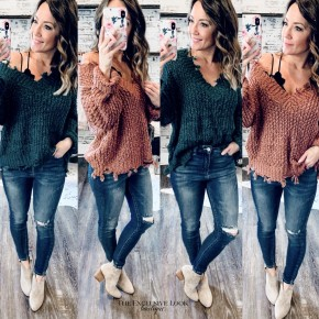 Distressed V-Neck Knit Sweaters - 2 COLORS
