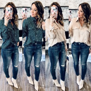Button Down Polka Dot Tops - 2 COLORS