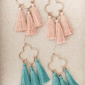 Gold Clover Tassel Earrings- 2 NEW COLORS