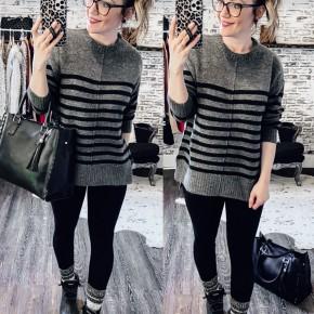 Grey/Black Striped Mock Neck Pullover Sweater