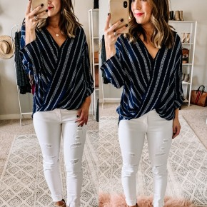 Navy/White Drape Front Top