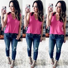 Hot Pink Sleeveless Basic Top
