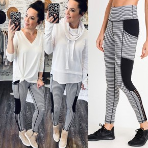 Meet Me At The Barre- Striped Leggings