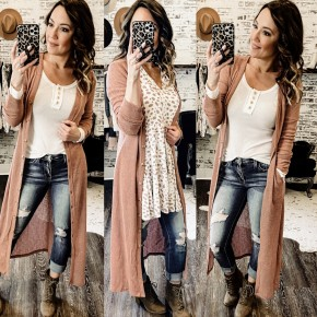 Duster Button Up Cardi- Rose