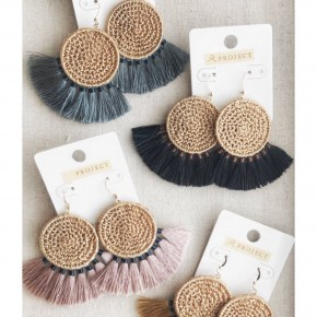 Crochet Fan Earrings- 4 Colors