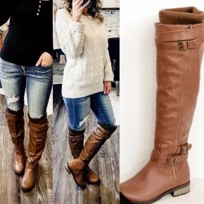 Tan Knee Boots