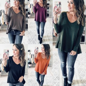 Waffle Knit Basic Top - 5 COLORS