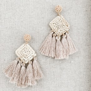Neutral Post Tassel Earrings