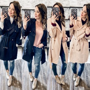 Pink or Navy Trench Coat