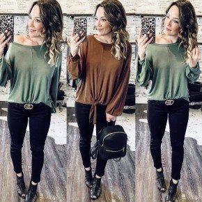 Dream On Tie Front Top- 2 COLORS